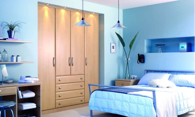 Blue Color Bedroom Interior