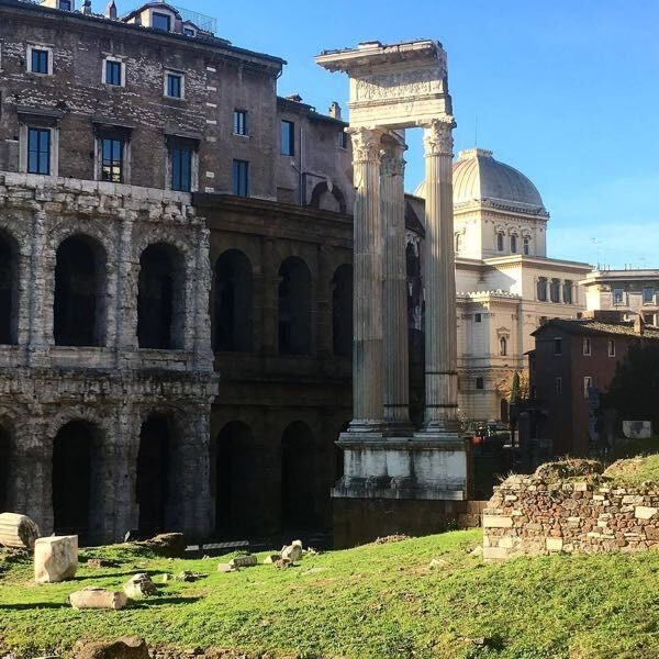 The Roman ruins inside the Jewish Ghetto