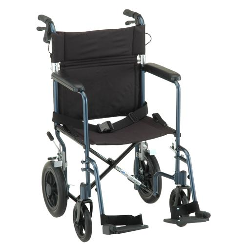 "NOVA Lightweight Transport Chair w/12"" Rear Wheels"