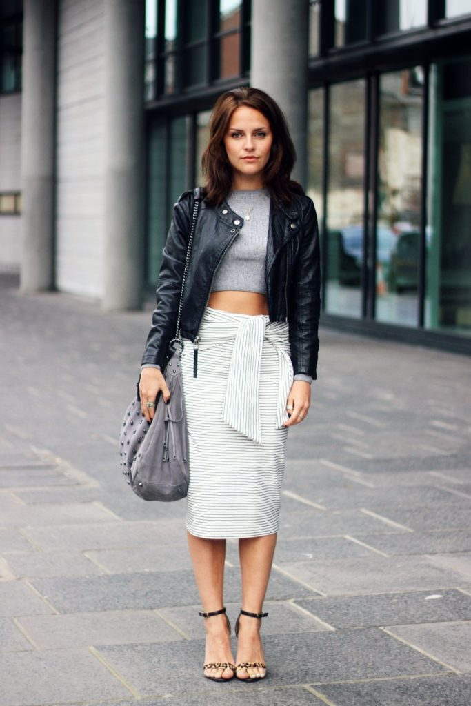 cropped jumper with a leather jacket