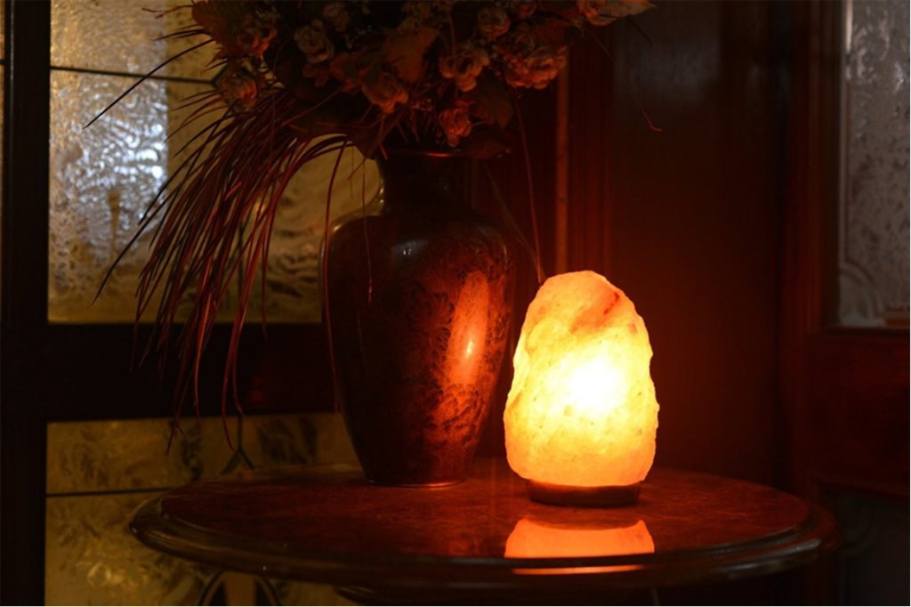 Salt Lamp on the Nightstand